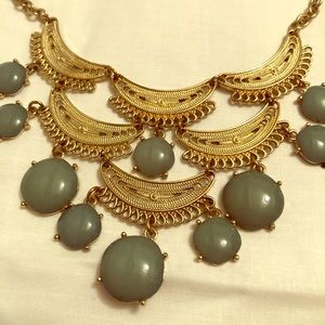 Gold and Teal Beaded Necklace
